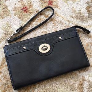 Coach all leather black wristlet, wallet, clutch